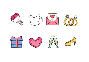 Wedding Doodle Icons - Free vector #430581