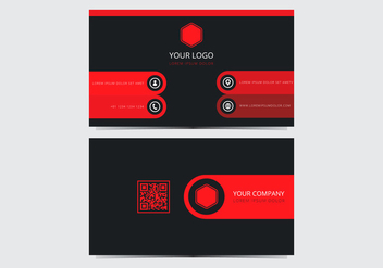 Red Stylish Business Card Template - vector gratuit #430601