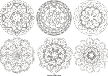 Mandala Flower Shapes Collection - Free vector #430621
