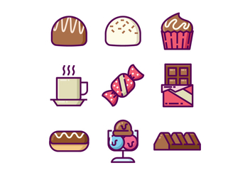 Sweet Chocolates Icon Set - vector gratuit #430651