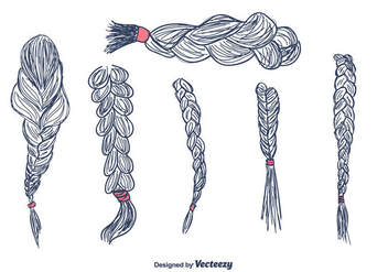 Hand Drawn Hair Plaits Vector - Free vector #430681