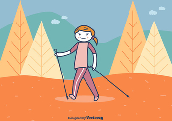 Nordic Walking Vector Illustration - Free vector #430691