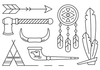 Free Linear Native American Vector Elements - Free vector #430701
