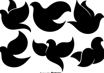 Black Dove Flat Icons Set - vector gratuit #430731