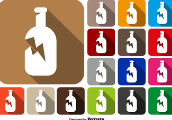 Broken Bottle Icon Square Buttons Vector Set - Free vector #430751