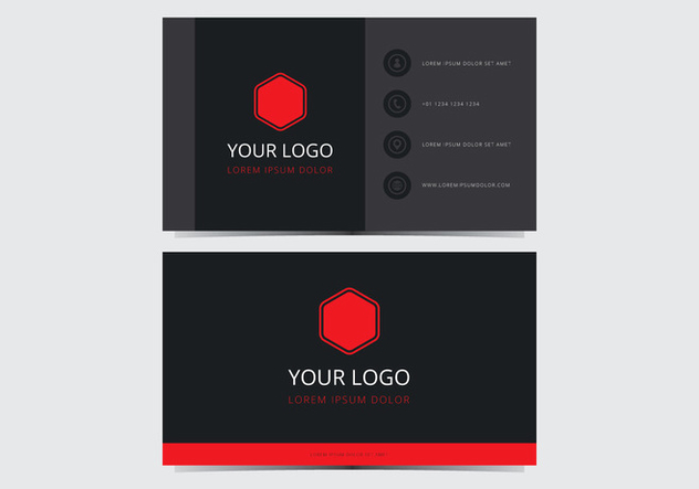 Red Stylish Business Card Template - Free vector #430761