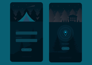 Living In the Forest Mobile UI Vectors - vector gratuit #430801