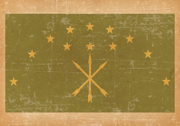 Adygea Flag on Old Grunge Style Background - Free vector #430841