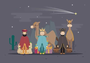 Free Three King with Camel In Desert, Happy Epiphany Day Illustration - Free vector #430961