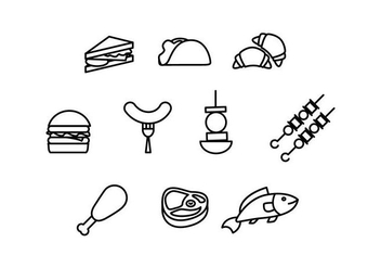 Free Food and Appetizer Linear Vectors - vector #430971 gratis