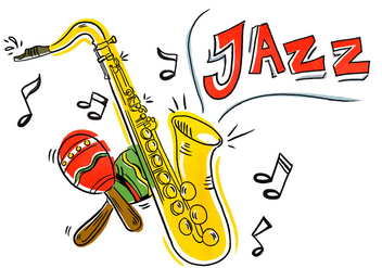 Colorful Iliustration Jazz Saxophone And Maracas - vector gratuit #431011