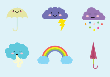 Weather Cuties Vector Elements - бесплатный vector #431061