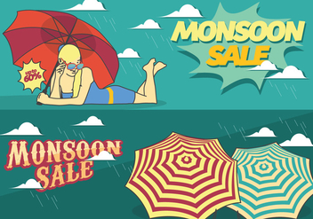 Monsoon Sale Season Poster - vector #431071 gratis