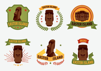 Easter Island Statue Label Illustration Vector - Free vector #431091