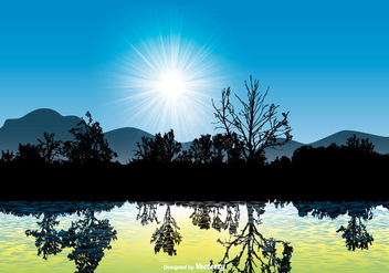 Beautiful Landscape Scene with Water Reflection - Free vector #431211