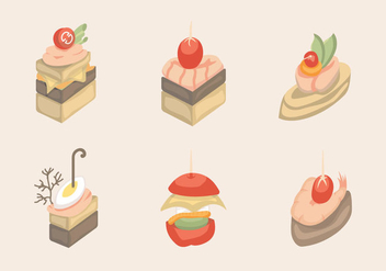 Canapes Food Slice Isolated Vector - Free vector #431251