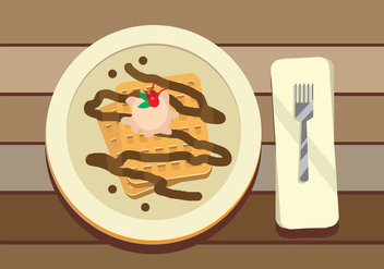 Belgian Waffle With Chocolate And CherryTopping Vector - Free vector #431301