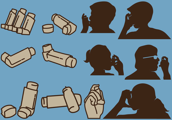 Person Holding Inhaler And Isolated Inhaler - Free vector #431561