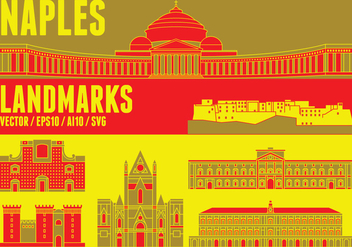 Naples Skyline Landmark - vector gratuit #431571