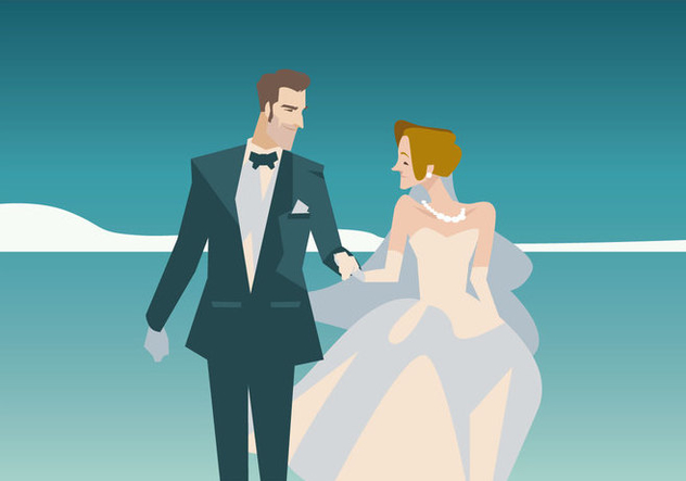 Couple in Marriage Vector - vector gratuit #431641