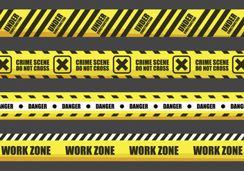 Yellow Warning Tape Vectors - vector gratuit #431661