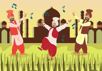 Bhangra Dance in Savana - vector gratuit #431671