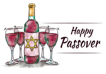 Watercolor Passover Diner With Cups and Wine - Kostenloses vector #431731