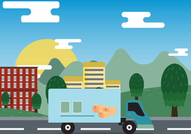 Moving Van On City Vector - Free vector #431791