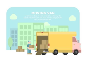 Yellow Moving Van Illustration - Free vector #431861