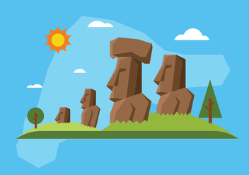 Easter island illustration - бесплатный vector #432021
