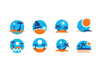 Summer Beach Icon Vectors - Free vector #432041