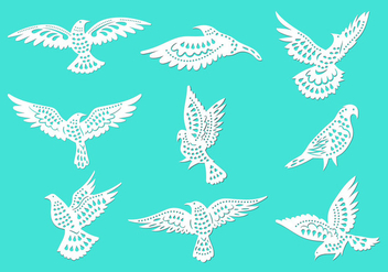 Dove or Paloma Peace Symbols Paper Cut Style Vectors - Free vector #432051