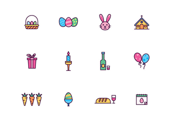Outlined Easter and Holy Week Vector Icon set - vector #432171 gratis