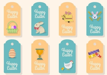 Flat Easter Gift Tag Vectors - Free vector #432201
