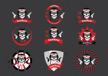 Kamikaze Badge Set Free Vector - Free vector #432251