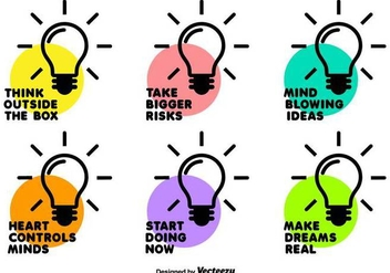 Vector Bulb Icon Set With Motivational Phrases - бесплатный vector #432261