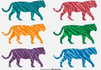 Vector Colorful Tiger Silhouettes With Animal Stripes - Free vector #432271