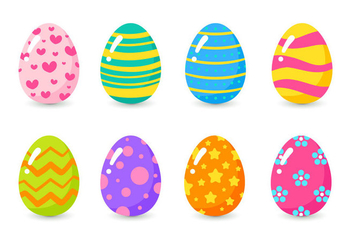 Set Of Colorful Easter Eggs - vector gratuit #432301