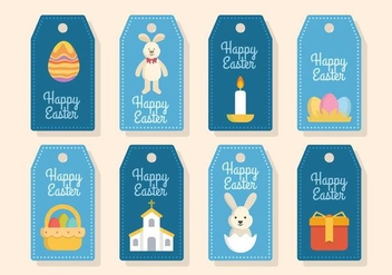 Flat Easter Gift Tag Vectors - Free vector #432311