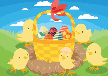 Easter Chick Vector Background - Kostenloses vector #432431