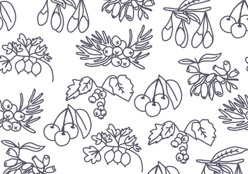Tree Seeds and Berries Pattern Vector - бесплатный vector #432451