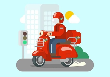 Bright Red Lambretta Illustration - vector gratuit #432471