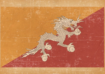 Flag of Bhutan on Grunge Background - Free vector #432571