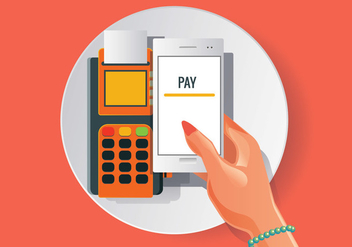 Orange NFC Payment Vector in Realistic Style - Free vector #432601