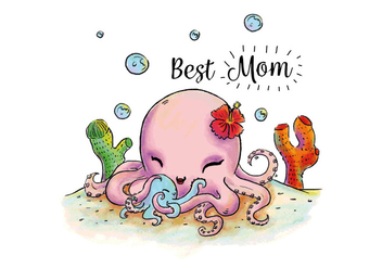 Cute Octopus Mom And Son Hugging Under The Sea Vector - Free vector #432651