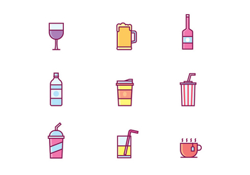 Vector Set of Beverage Icons - vector #432681 gratis