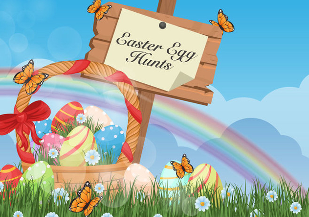 Easter Egg Hunt Background - Free vector #432701