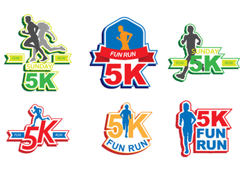 Bright 5K Run Sticker Vectors - Free vector #432731