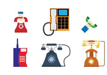 Flat Retro Phone Sticker - Kostenloses vector #432741