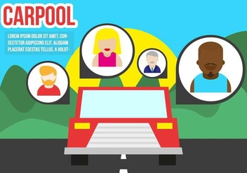 Carpool Flat Illustration Vector - vector gratuit #432771